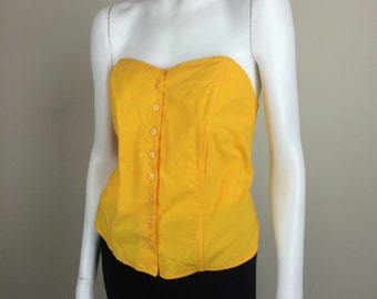goldenrod yellow bustier tube top large 80's