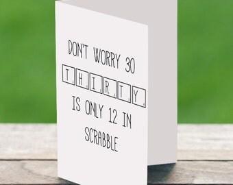 30th Birthday Card, The Big 30, Milestone Birthday, 1986 Birthday Card, Scrabble Birthday Card, Thirtieth Birthday