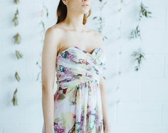 Floral Print Strapless Bridesmaid Dress (Floor/Knee-Length) - Sweetheart Gown with Bodice Pleating - Removable Straps - Summer Wedding Dress