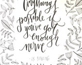 Anything's Possible Hand Lettered Quote and Illustration- Original Artwork