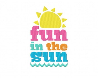 Fun in the Sun Machine Embroidery Design Multiple Formats Available - Instant Download