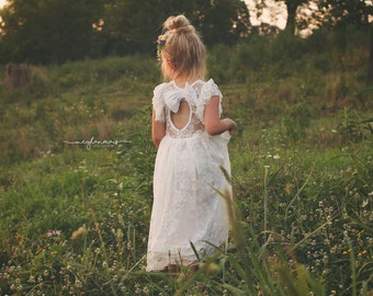 Rustic Flower Girl Dress, Lace Flower Girl Dress, White Flower Girl Dress, Lace Baby Dress, Country Flower Girl Dress Lace, Boho Flower Girl