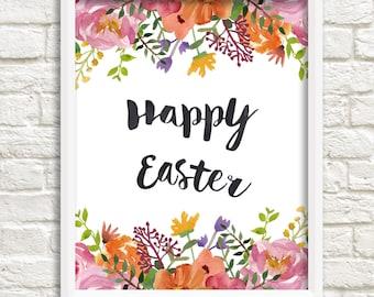 Happy Easter art print, digital print with watercolor flowers, floral art print, botanical print, Easter art print,  INSTANT DOWNLOAD (0042)