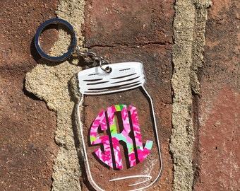 Lilly Pulitzer Inspired Mason Jar Keychain | Monogram Keychain | Acrylic Keychain