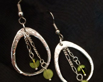 Hammered Silver Oval Earrings with Avocado Green Circle Beads