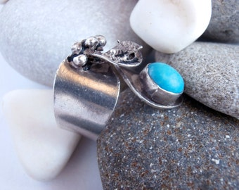 Turquoise Stone Ring - Vintage Jewellery - Sterling Silver Ring
