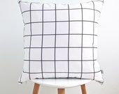 GRID PILLOW COVER  / decorative cushion / scandinavian style / black and white / washable cotton / 18x18 / la petite boite / handmade