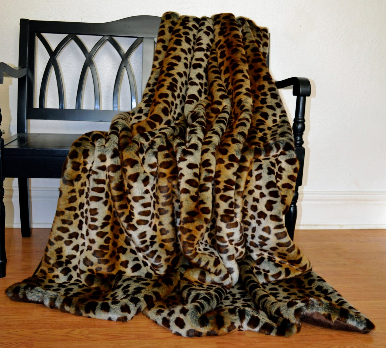 Ready To Ship Faux Fur Throw Fur Blanket Leopard Faux Fur
