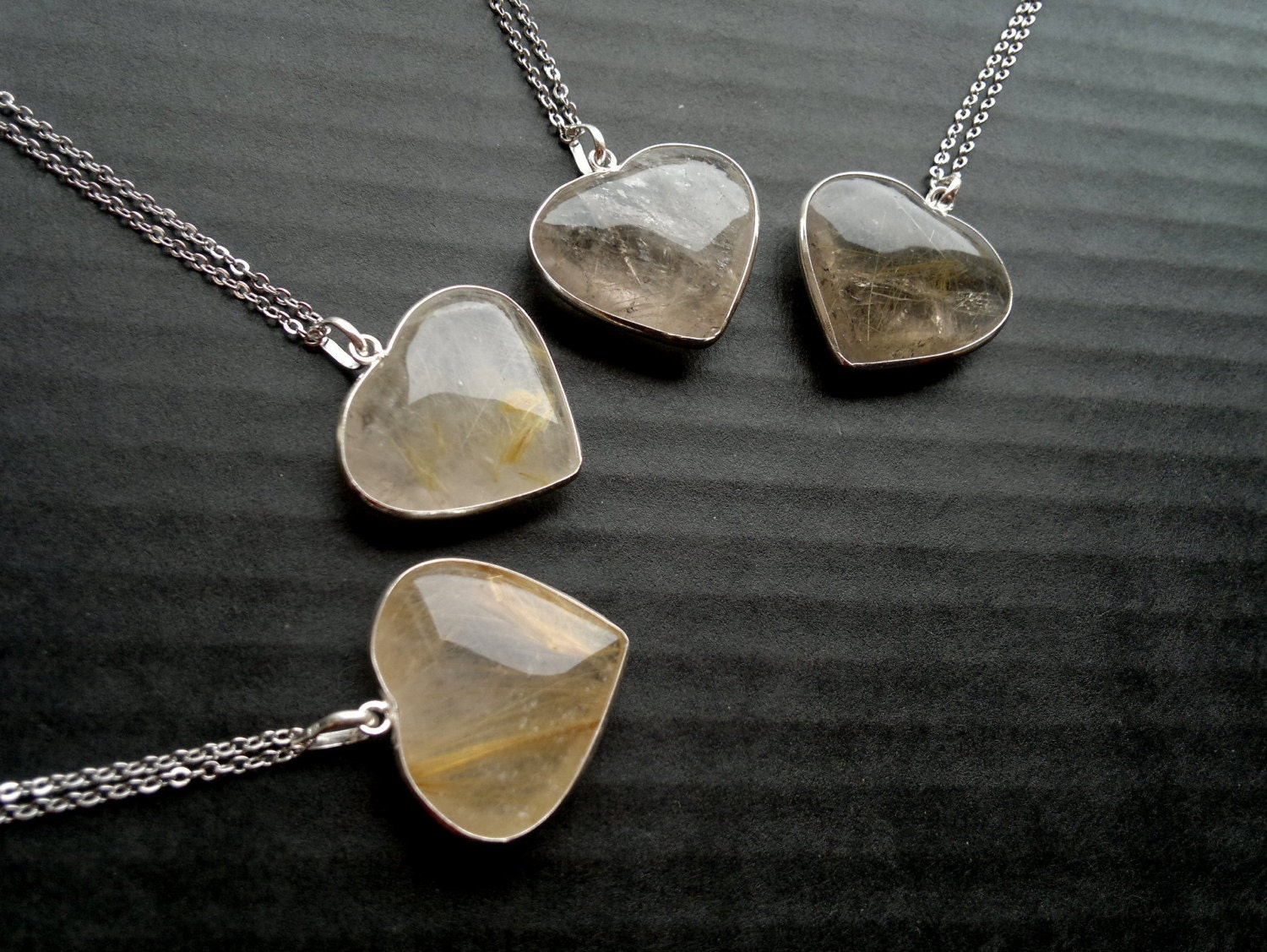 Golden rutilated quartz necklace gold rutile heart necklace for Golden rutilated quartz jewelry