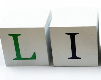Personalized Wooden Name Baby Blocks - Letter Blocks- Baby Blocks - No Stickers
