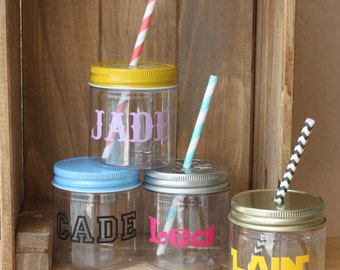 Personalized Plastic Mason Jars, Personalized Kids Cups, Party Favors, Wedding Favors, Baby Shower Favors, Kids Table, Kids Party Cups