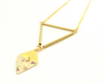 Lilac and pea flowers | Necklace gold geometric triangles tubes and diamond - handmade