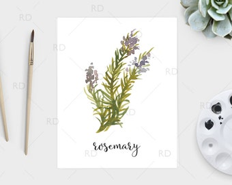 Rosemary watercolor - PRINTABLE Wall Art / Rosemary print / Herb printable / Herb print / Herb art / Rosemary Art / Kitchen art / Kitchen