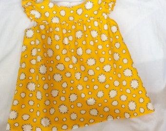 Girls toddlers dress, Organic Cotton dress, designer's dress, ruffle sleeves, Aline dress, shell button, lined, 12M 2T 3T 4T 5T,