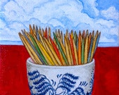 "Original Oil Painting, Still Life ""Blue Willow & Toothpicks"" 4x6 Kitchen art, Humorous realism, Whimsical art, Cloud background on red table"