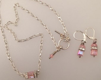 Simply Elegant Pink Swarovski Crystal Jewelry set