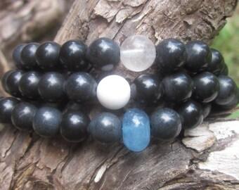 boho bracelets black stone bracelets white jade gray quartz blue malaysia jade stone rustic beaded stretch bracelets stacking bracelets