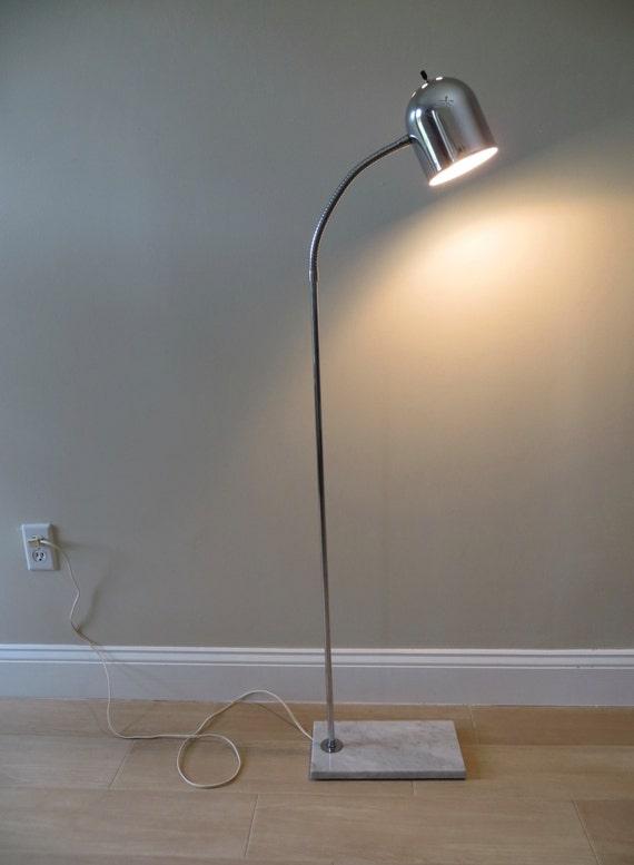 mid century chrome floor lamp marble base adjustable goose