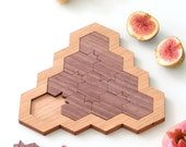 Mind game  Pomegranate and honey hive shaped Modern Judaica challenging puzzle oak and walnut veneers