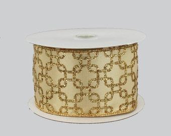 10 yards Antique Gold Interlock Wire Edge Ribbon - Ribbon for Wreaths, Wedding Bow Ribbon, Gold Christmas Ribbon, Pew Bow Ribbon