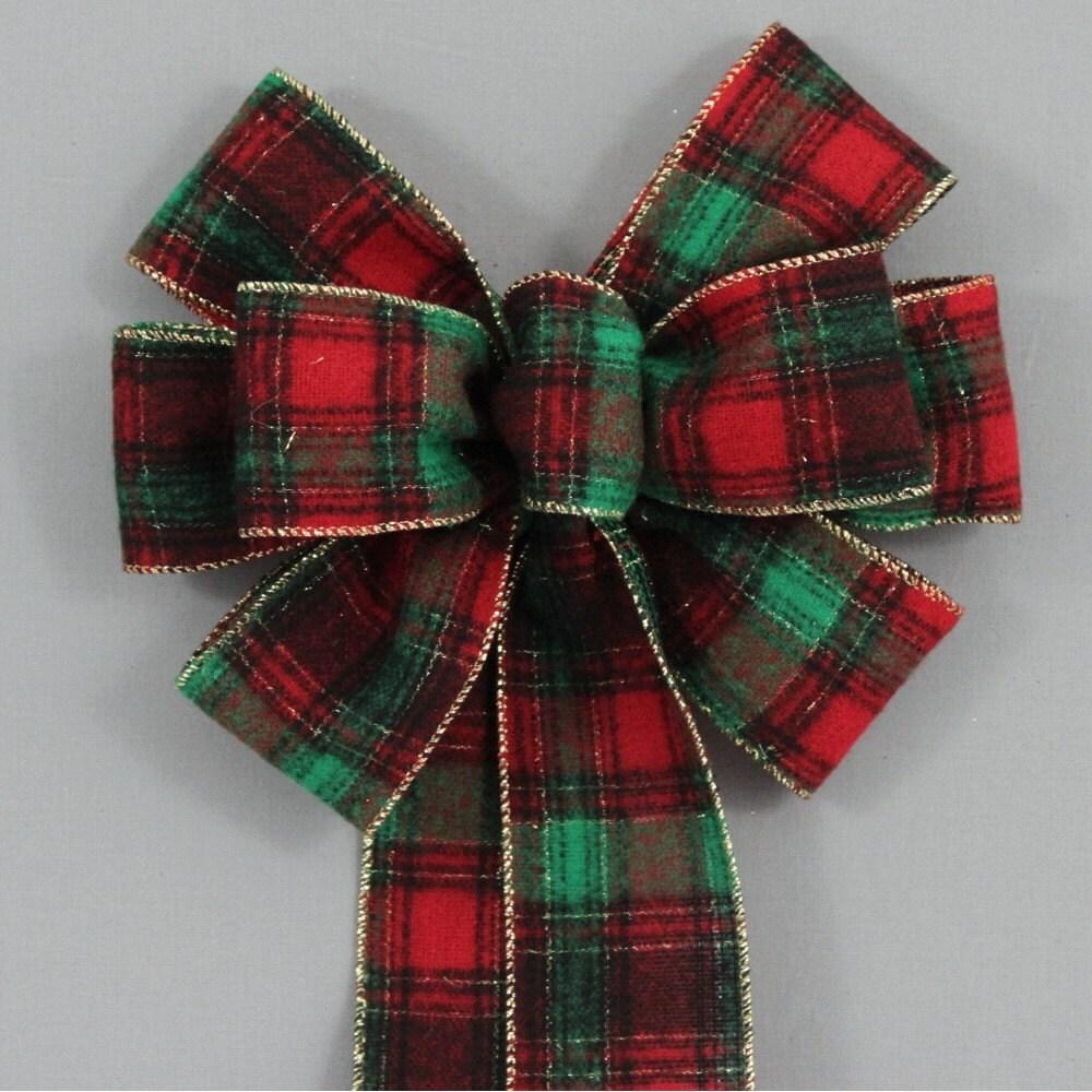Flannel Plaid Christmas Wreath Bow Holiday Wreath
