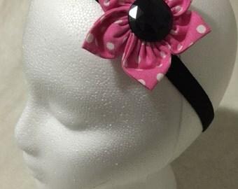 Pink and White Polka Dot Hair Flower