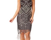 UK6 US2 AUS6 Isobel Black Vintage inspired 20s Flapper Great Gatsby Charleston Art Deco Bridesmaid Wedding Guest Fringe Dress New Hand Made