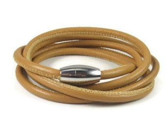 Tan Leather Wrap Bracelet, Womens Leather Bracelet, Leather Bracelet Wrap, Brown Leather Bracelet, Womens Leather Jewelry, Multiwrap