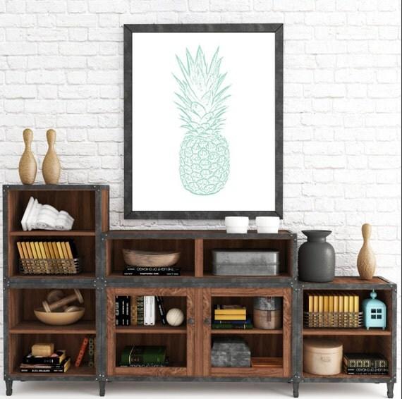 Pineapple Print, Mint Pineapple Print, Pineapple Wall Art, Art print, Pineapple Poster, Nursery Print, Mint Nursery, Office Print, Printable