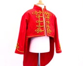 Kids Circus Ringmaster Costume | Red tailcoat with gold braiding | Military Soldier Jacket | Sergeant Pepper Kids Costume