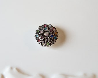 Beautiful Colorful Flower Snap-Gingersnap-Noosa Style Snaps-Poppers-Snap Button-Snap In Jewelry-Gift For Her-Destash-Celestial Luxuries