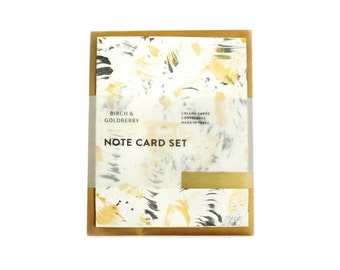 Hand-Painted Black, White & Gold Notecard Set of 3