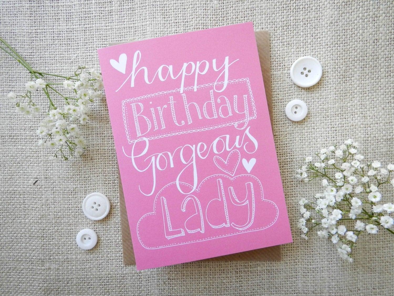 Happy Birthday Gorgeous Lady hand drawn greeting card – Lady Birthday Card