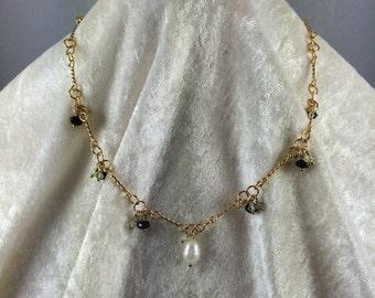 Pearl, Garnet and Prehnite Necklace