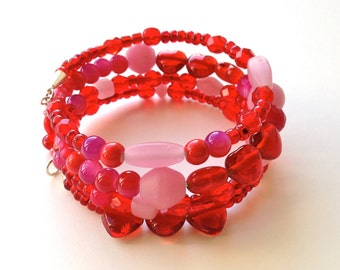 Red Wrap Bracelet, Heart Bracelet, Cherry Red Bracelet, Cute Bracelet, Memory Wire Coil, Gift Idea