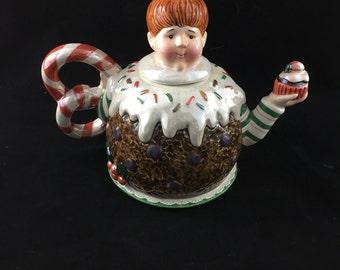 Hand Painted Dept 56 Sugar Plum Fairy Teapot