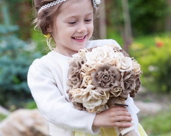 Burlap Wedding Bouquet, Bridal Bouquet, Rustic Bouquet, Handmade  Roses