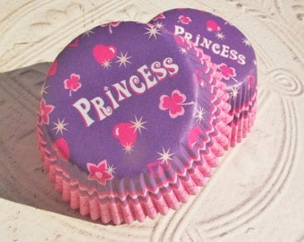 50 ct. PRINCESS CUPCAKE LINERS,Party Supplies,Paper Goods,Princess Theme Party Supplies,Pink and Purple Princess Cupcake Liners
