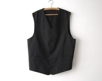 Dark Grey Extra Large Mens Vest  Classic Fitted Waistcoat Steampunk Gentlemen's Edwardian Victorian