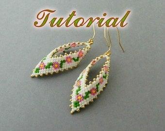 PDF Beaded Earrings Tutorial, Earrings Peyote Pattern, Beadwork Tutorial, Seed Bead Earrings, Russian Leaf Earrings Beading pattern