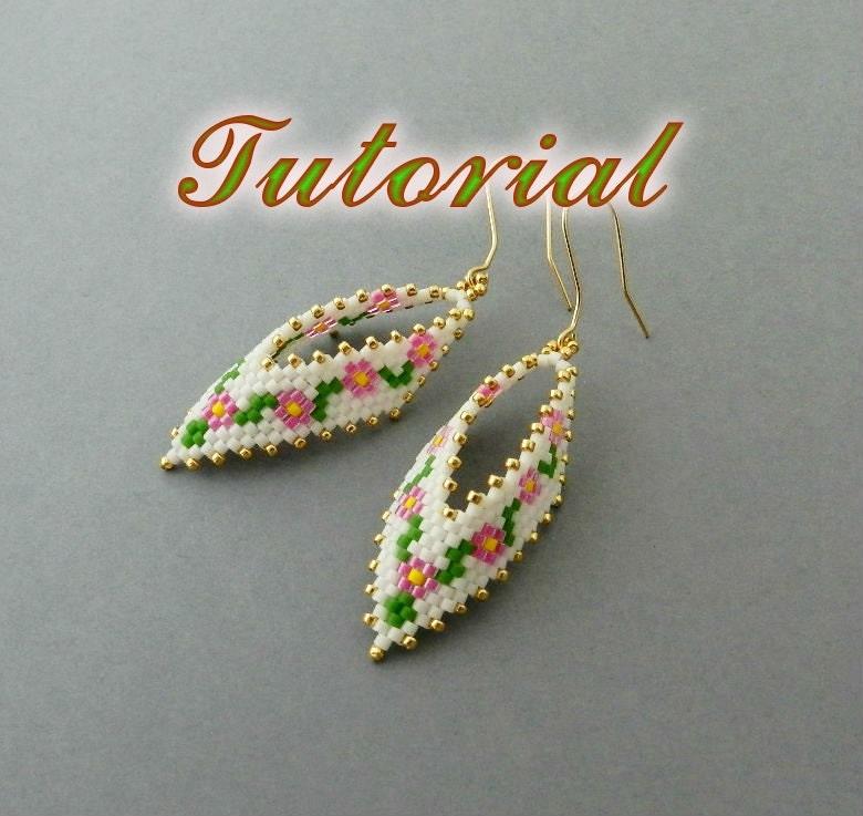 Pdf Beaded Earrings Tutorial Earrings Peyote Pattern