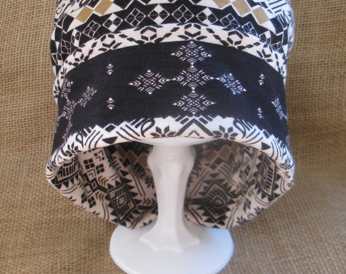 Womens Chemo Hat - Handmade Soft Cotton Cream Mocha Tribal Beanie Cap for Alopecia and Cancer Headwear, Hair Loss or Chemotherapy Patients
