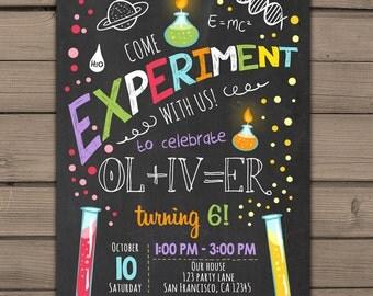 science invitation  etsy, Party invitations