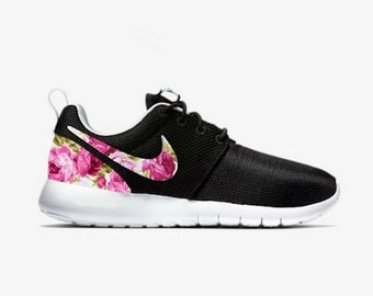 Nike Roshe Run Floral Floral Nike Roshe Custom Nike Black Roshe Pink Rose V2 Floral Nike Shoe Womens Girls Custom Nike Shoes