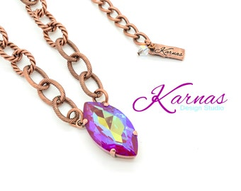 ULTRA RUBY AB 32x17mm Navette Pendant Necklace Swarovski Crystal *Pick Your Finish *Karnas Design Studio *Free Shipping
