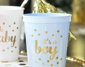 Its a Boy Baby Shower Decorations for Boy Blue Baby Shower Cups Blue Baby Shower Ideas Blue and Gold Baby Shower (EB3104BB) -set of 25 CUPS