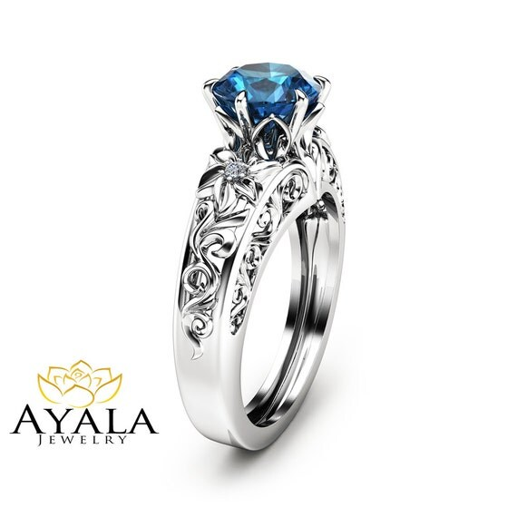 blue topaz engagement ring unique topaz ring in 14k