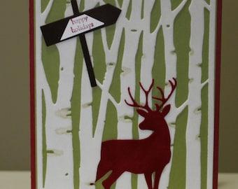 Red deer in the woods Christmas Card