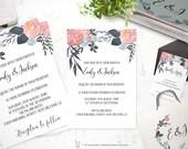 Pink, orange, blue Floral Printable Wedding Invitation Suite - Customizable Wedding Invites - DIY Wedding Invitation Set