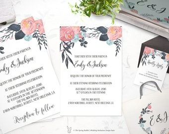 Pink, orange, blue Floral Printable Wedding Invitation Suite - Customizable Wedding Invites - DIY Wedding Invitation Set